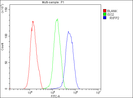 Figure 2. Flow Cytometry analysis of U251 cells using anti-GPCR LGR8 antibody (A04848-1).<br>Overlay histogram showing U251 cells stained with A04848-1 (Blue line).The cells were blocked with 10% normal goat serum. And then incubated with rabbit anti-GPCR LGR8 Antibody (A04848-1,1μg/1x10<sup>6</sup> cells) for 30 min at 20°C. DyLight®488 conjugated goat anti-rabbit IgG (BA1127, 5-10μg/1x10<sup>6</sup> cells) was used as secondary antibody for 30 minutes at 20°C. Isotype control antibody (Green line) was rabbit IgG (1μg/1x10<sup>6</sup>) used under the same conditions. Unlabelled sample (Red line) was also used as a control.<br>