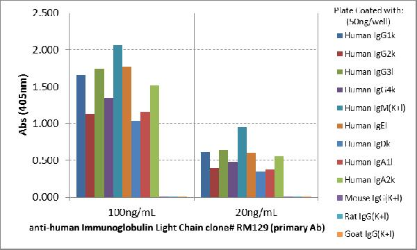 Figure 2. ELISA result showing specificity<br>ELISA showing RM129 reacts only to kappa and lambda light chain of all human immunoglobulins, not to mouse IgG, rat IgG, or goat IgG.