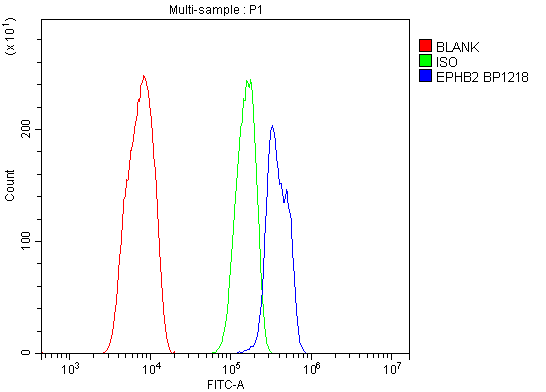 Figure 5. Flow Cytometry analysis of C6 cells using anti-EPHB2 antibody (A01507-1). <br> Overlay histogram showing C6 cells stained with A01507-1 (Blue line).The cells were blocked with 10% normal goat serum. And then incubated with rabbit anti-EPHB2 Antibody (A01507-1, 1μg/1x10<sup>6</sup> cells) for 30 min at 20°C. DyLight®488 conjugated goat anti-rabbit IgG (BA1127, 5-10μg/1x10<sup>6</sup> cells) was used as secondary antibody for 30 minutes at 20°C. Isotype control antibody (Green line) was rabbit IgG (1μg/1x10<sup>6</sup>) used under the same conditions. Unlabelled sample (Red line) was also used as a control.