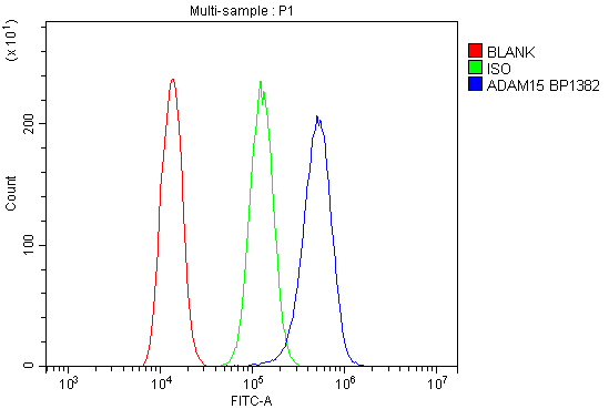 Figure 2. Flow Cytometry analysis of A431 cells using anti-ADAM15 antibody (A02593-4). <br> Overlay histogram showing A431 cells stained with A02593-4 (Blue line).The cells were blocked with 10% normal goat serum. And then incubated with rabbit anti-ADAM15 Antibody (A02593-4, 1μg/1x10<sup>6</sup> cells) for 30 min at 20°C. DyLight®488 conjugated goat anti-rabbit IgG (BA1127, 5-10μg/1x10<sup>6</sup> cells) was used as secondary antibody for 30 minutes at 20°C. Isotype control antibody (Green line) was rabbit IgG (1μg/1x10<sup>6</sup>) used under the same conditions. Unlabelled sample (Red line) was also used as a control.