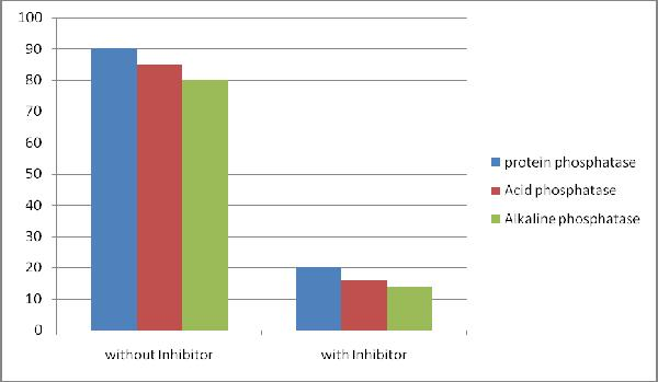 The degree of inhibition for protein, acid and alkaline phosphatase activity (% of activity) was measured in mouse brain extract following treatment with Boster Phosphatase Inhibitor Cocktail III.