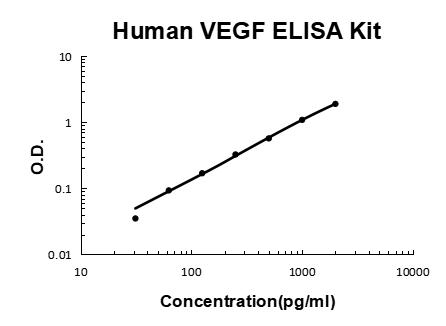Human VEGF PicoKine ELISA Kit standard curve