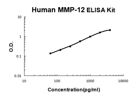 Human MMP-12 PicoKine ELISA Kit standard curve