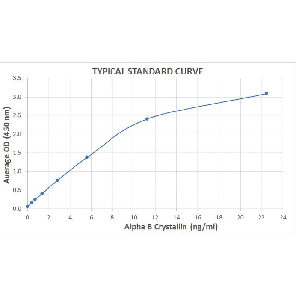 Typical Standard Curve for the Alpha B Crystallin ELISA Kit (Enzyme-Linked Immunosorbent Assay)  - EK7105. <br><strong>Assay Type:</strong> Sandwich ELISA. <br><strong>Detection Method:</strong> Colorimetric Assay. <br><strong>Assay Range:</strong> 0.352 - 22.5 ng/mL.