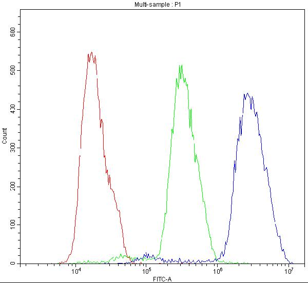 Figure 6. Flow Cytometry analysis of MCF-7 cells using anti-BID antibody (PB9027). <br>Overlay histogram showing MCF-7 cells stained with PB9027 (Blue line).The cells were blocked with 10% normal goat serum. And then incubated with rabbit anti-BID Antibody (PB9027,1μg/1x10<sup>6</sup> cells) for 30 min at 20°C. DyLight®488 conjugated goat anti-rabbit IgG (BA1127, 5-10μg/1x10<sup>6</sup> cells) was used as secondary antibody for 30 minutes at 20°C. Isotype control antibody (Green line) was rabbit IgG (1μg/1x10<sup>6</sup>) used under the same conditions. Unlabelled sample (Red line) was also used as a control.
